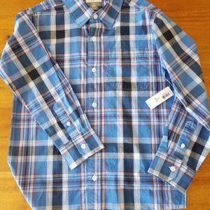 Plaid button down boys shirt